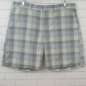 Grand Slam Golf Plaid Polyester Flat Front Shorts